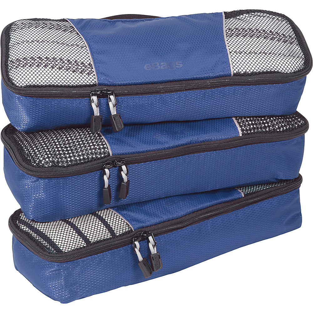 eBags Slim Packing Cubes - 3pc Set - Denim - Travel Accessories, Travel Organizers