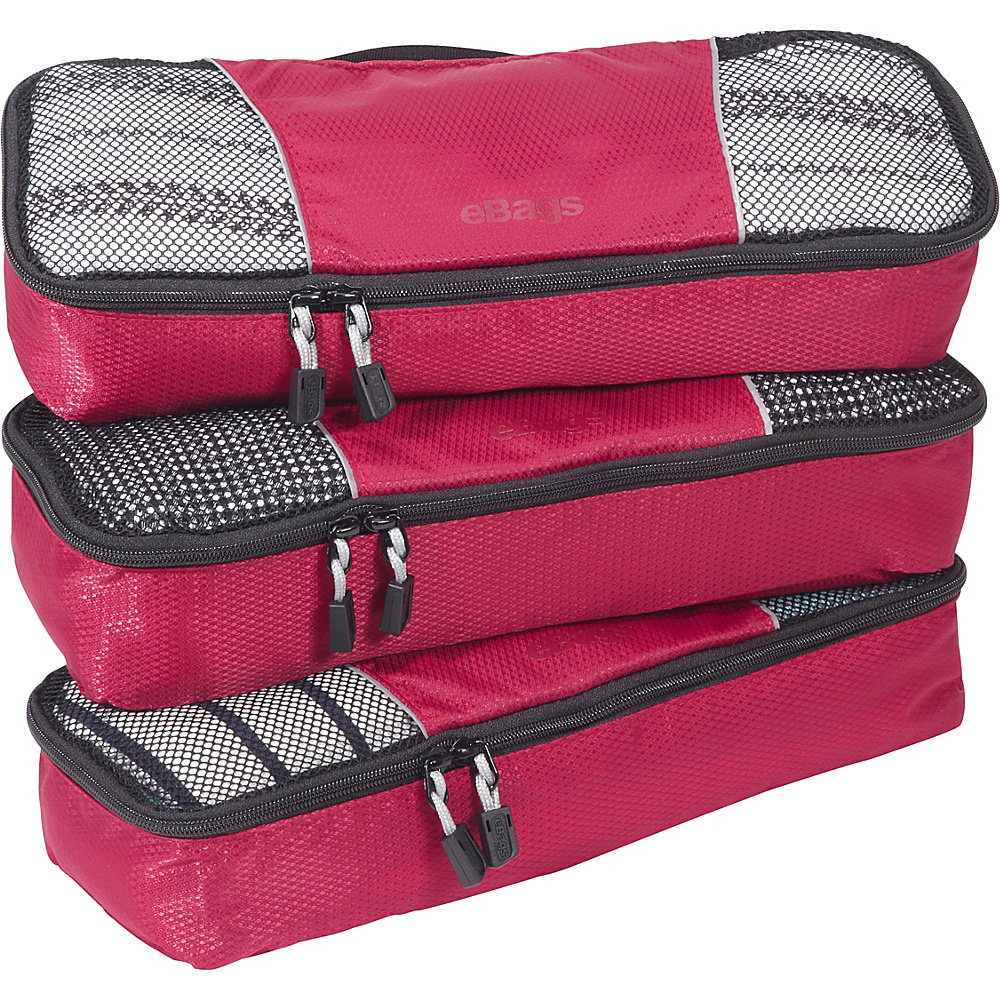 eBags Slim Packing Cubes - 3pc Set - Raspberry - Travel Accessories, Travel Organizers
