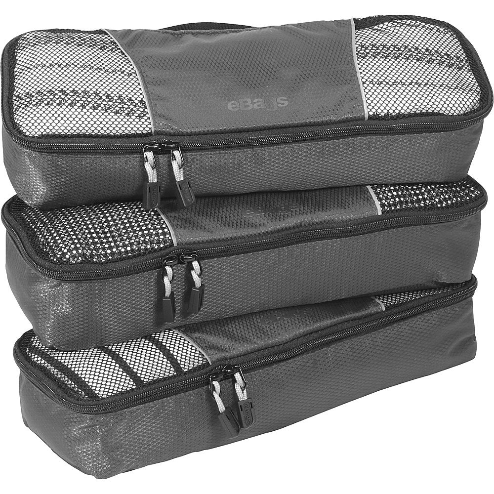 eBags Slim Packing Cubes - 3pc Set - Titanium - Travel Accessories, Travel Organizers