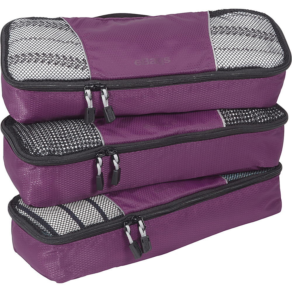 eBags Slim Packing Cubes - 3pc Set - Eggplant - Travel Accessories, Travel Organizers