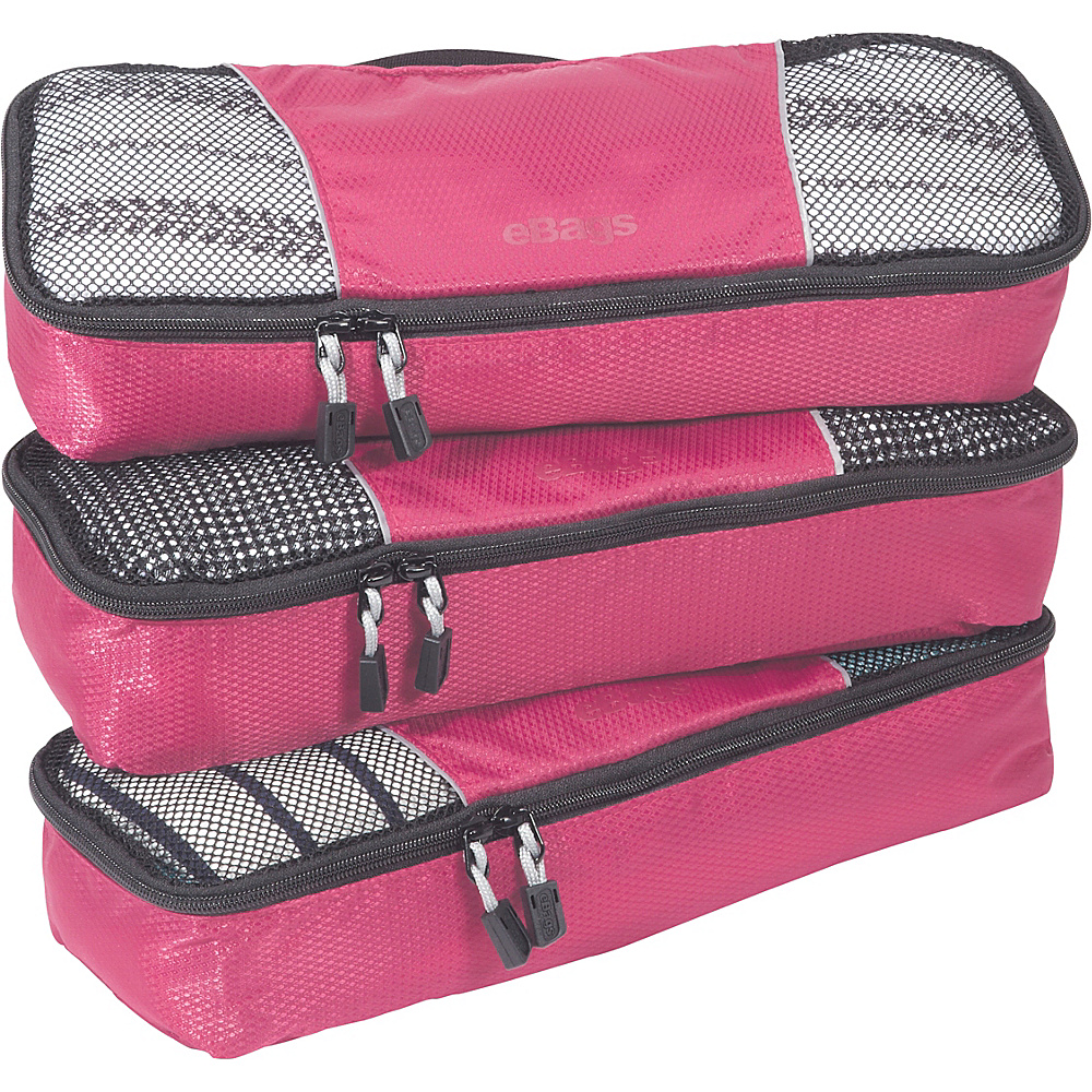 eBags Slim Packing Cubes - 3pc Set - Peony - Travel Accessories, Travel Organizers