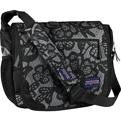 JanSport Elefunk Rolling Backpack (Printed) New Storm Grey/Black Lacis - Messenger Bags, Women's Messenger Bags