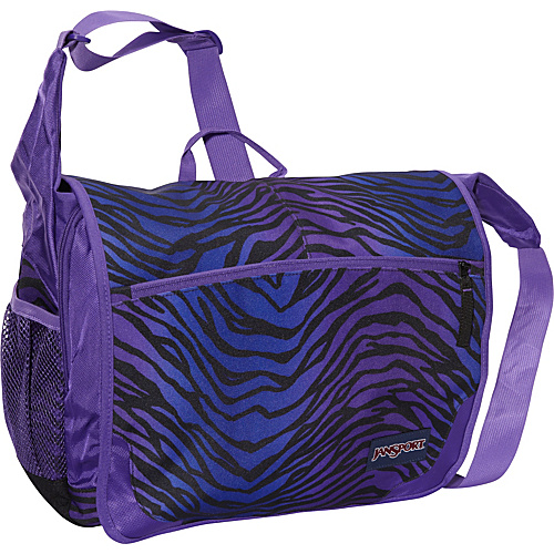 JanSport Elefunk Messenger Bag (Printed) Black/Prism Purple Flashback Zebra - Messenger Bags, Women's Messenger Bags