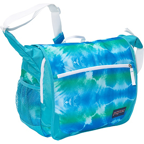 JanSport Elefunk Messenger Backpack (Printed) Blinded Blue Hippy Skip - Messenger Bags, Women's Messenger Bags