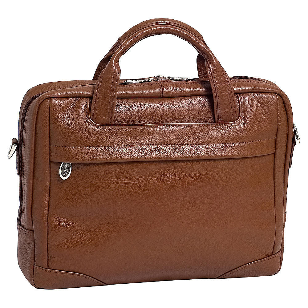 McKlein USA Bridgeport  Leather Laptop Brief - Cognac - Work Bags & Briefcases, Non-Wheeled Business Cases