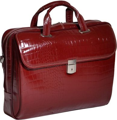 Siamod Monterosso Collection Servano Ladies Tablet Briefcase Cherry Red - Siamod Non-Wheeled Business Cases