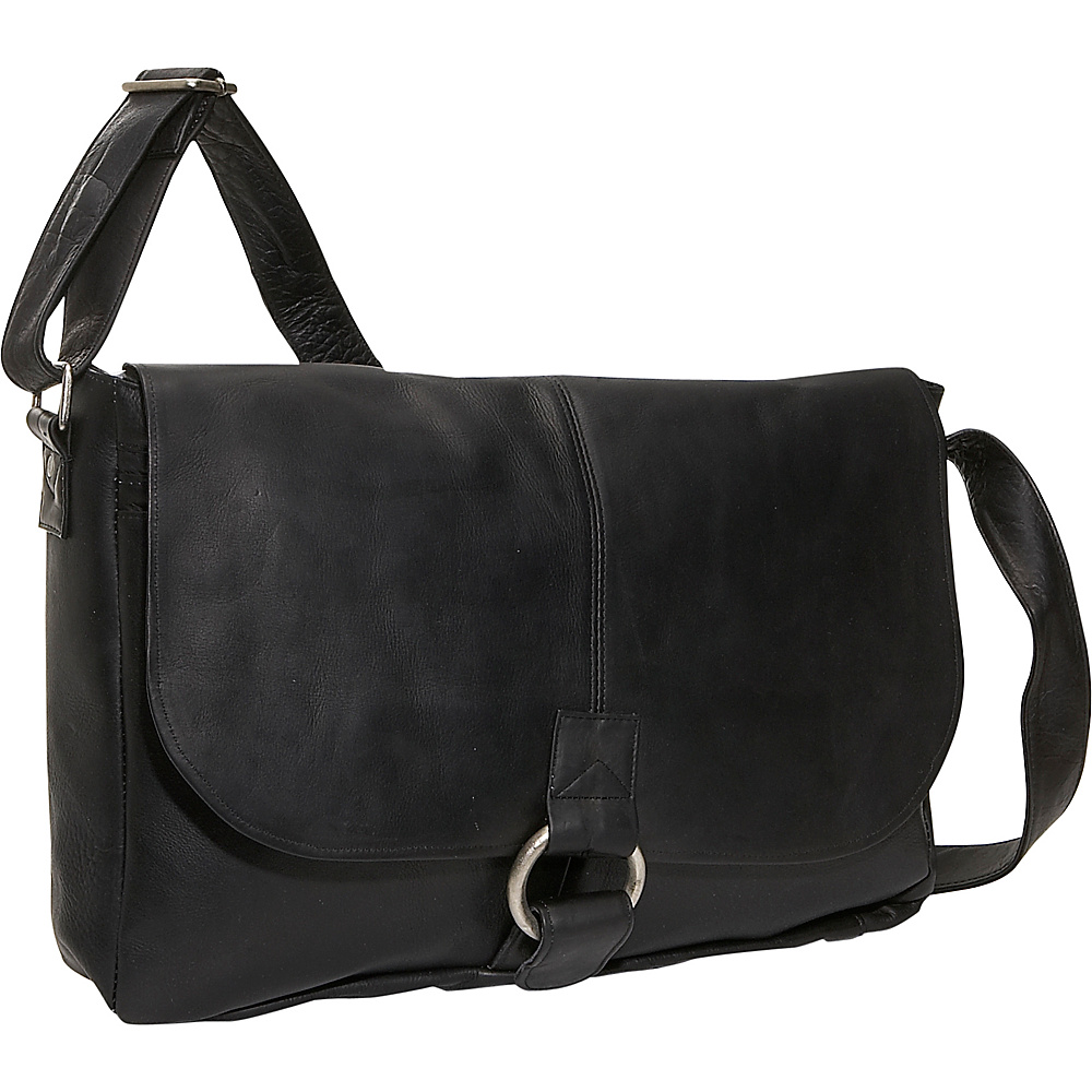 David King & Co. East/West 1/2 Flap Messenger - Black - Work Bags & Briefcases, Messenger Bags