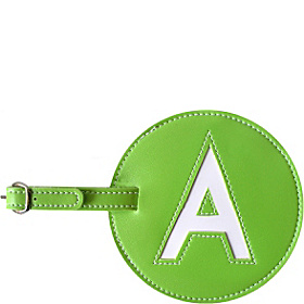 Leather Initial 'A' Luggage Tag Set of Two Green