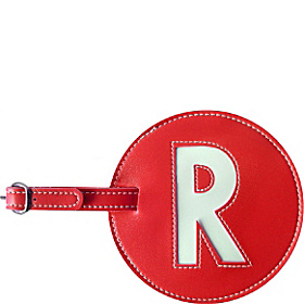 Leather Initial 'R' Luggage Tag Set of 2 Red