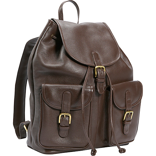 Leatherbay Leather Backpack w/Two Pockets - Dark Brown