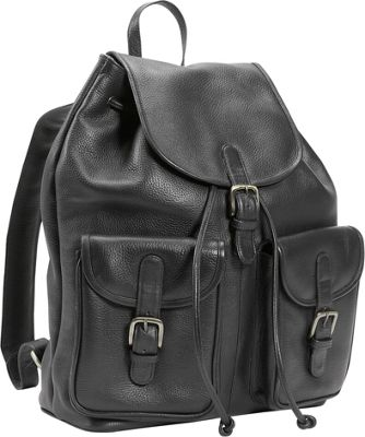Leatherbay Leather Backpack w/Two Pockets - Black