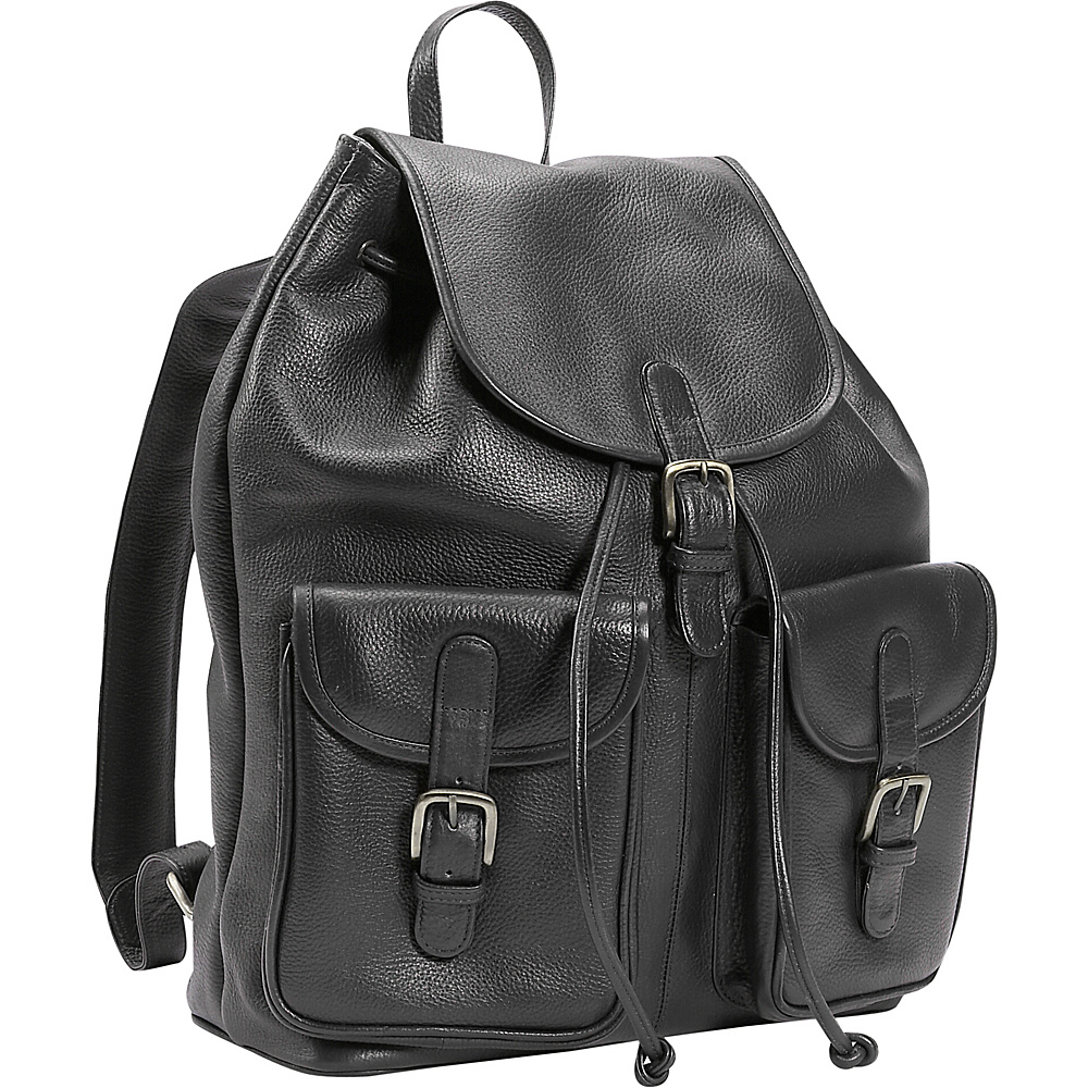 Leatherbay Leather Backpack w/Two Pockets - Black - Backpacks, Everyday Backpacks