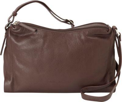 Derek Alexander Double Top Zip Shoulder Bag Brown - Derek Alexander Leather Handbags