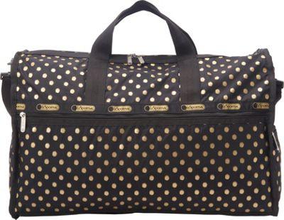 LeSportsac Large Weekender Travel Duffel Bag Black & Gold Foil - LeSportsac Travel Duffels
