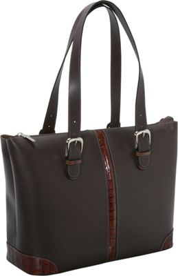 "Jack Georges Prestige Madison Avenue 15.4"" Laptop Tote w/ Croco Trim Brown - Jack Georges Women's Business Bags"