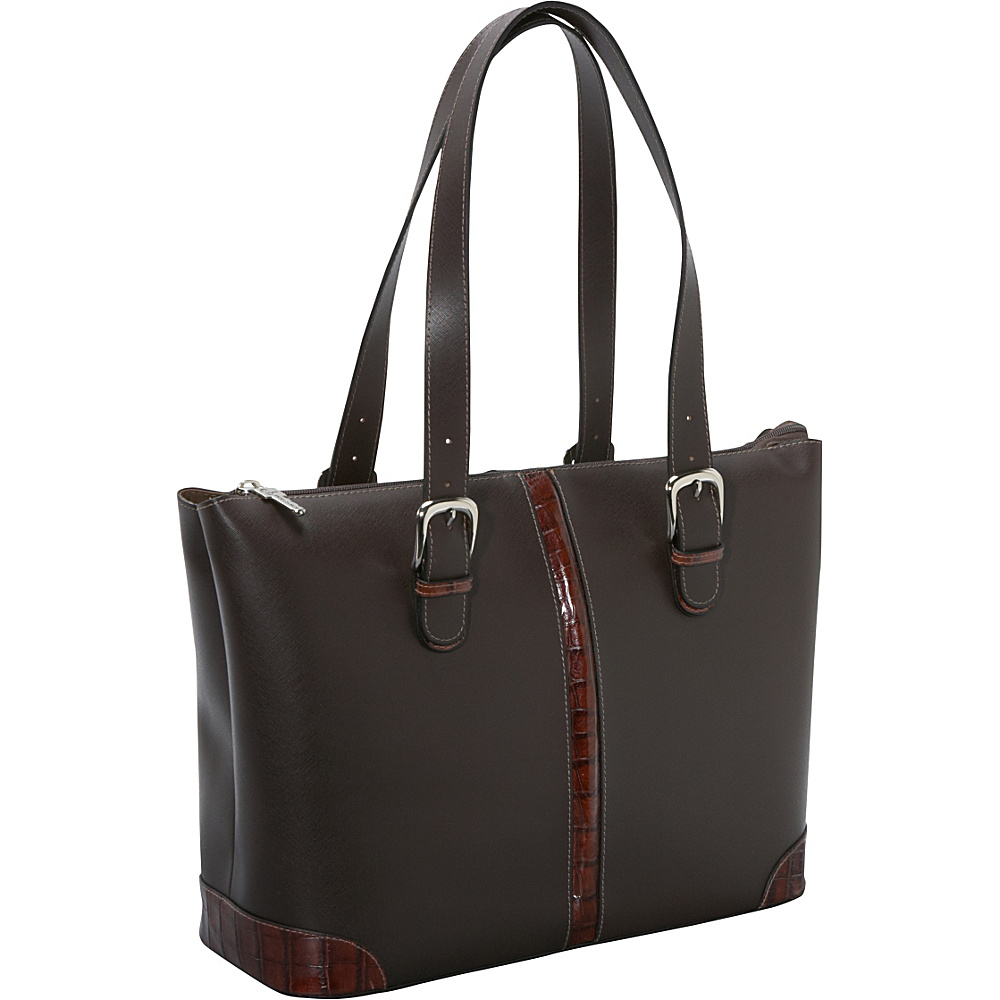 "Jack Georges Prestige Madison Avenue 15.4"" Laptop Tote w/ Croco Trim Brown - Jack Georges Ladies' Business"