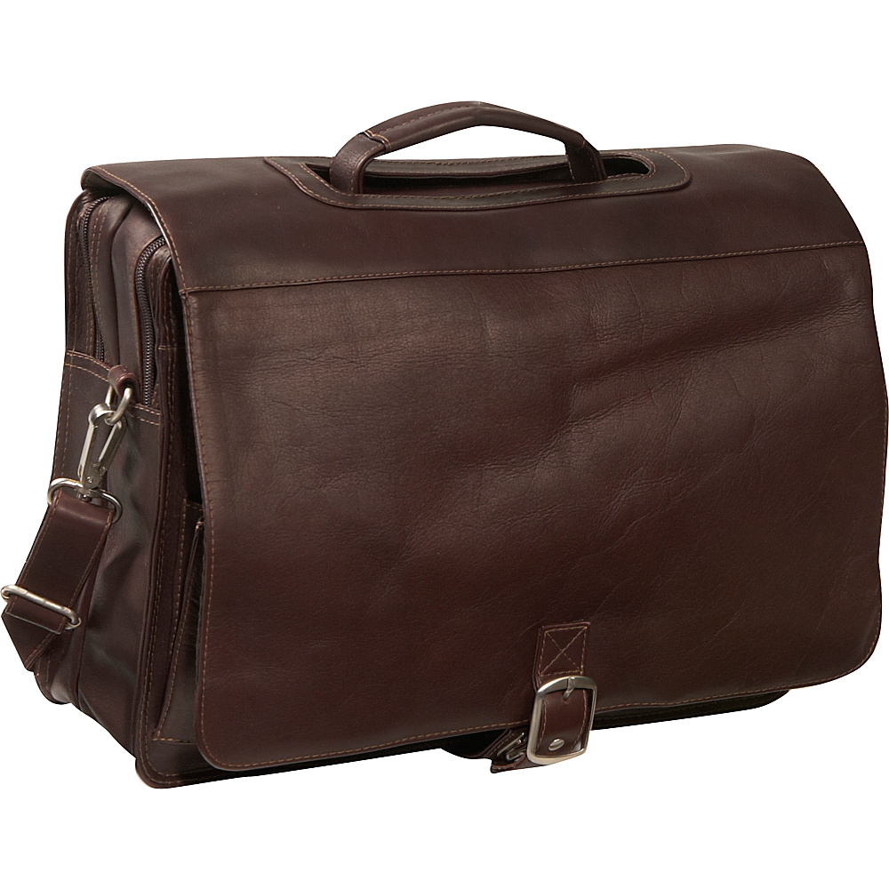 Piel Flap/Handle Portfolio - Chocolate - Work Bags & Briefcases, Non-Wheeled Business Cases