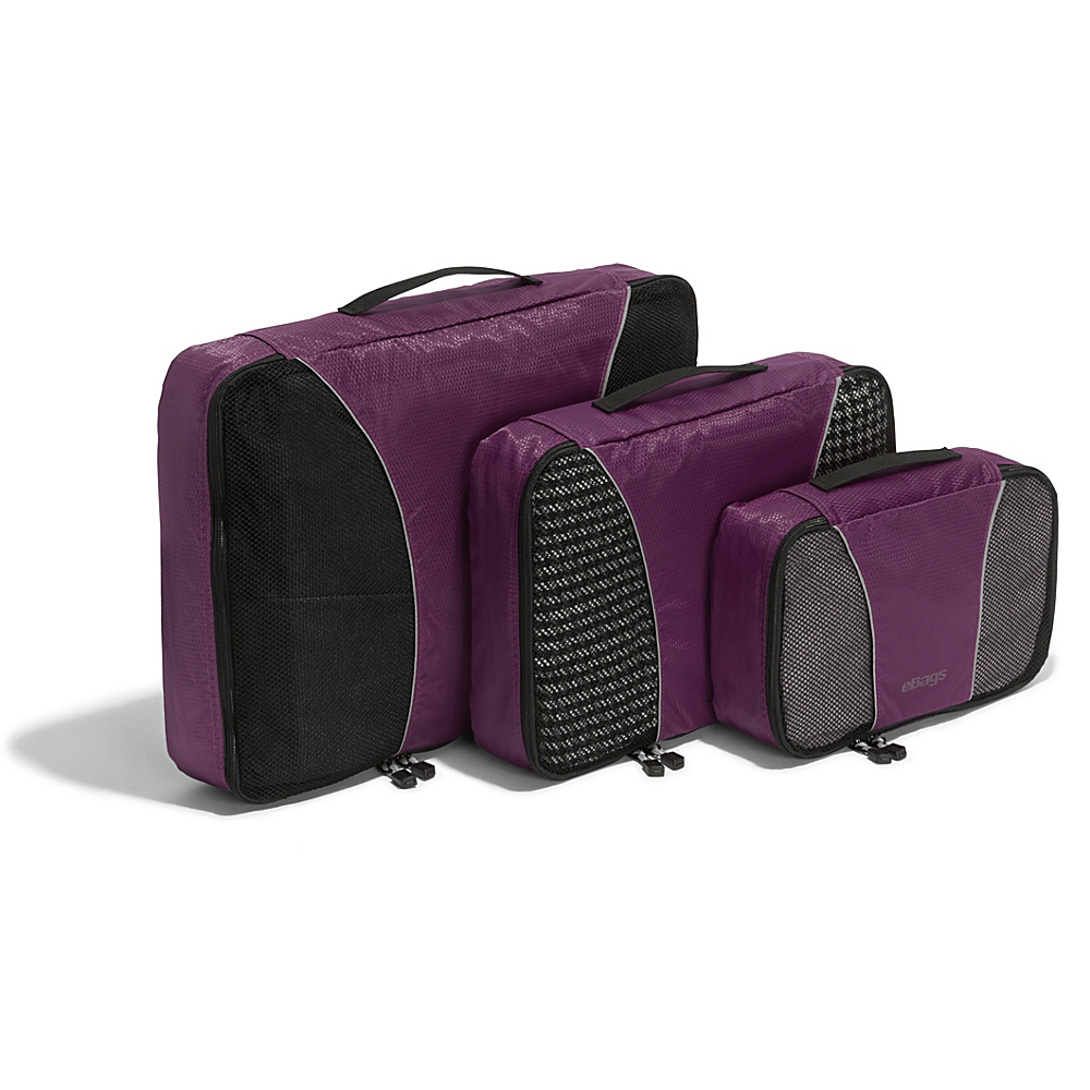 eBags Packing Cubes - 3pc Set - Eggplant - Travel Accessories, Travel Organizers