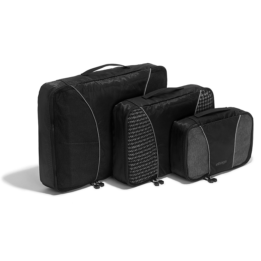 eBags Packing Cubes - 3pc Set - Black - Travel Accessories, Travel Organizers