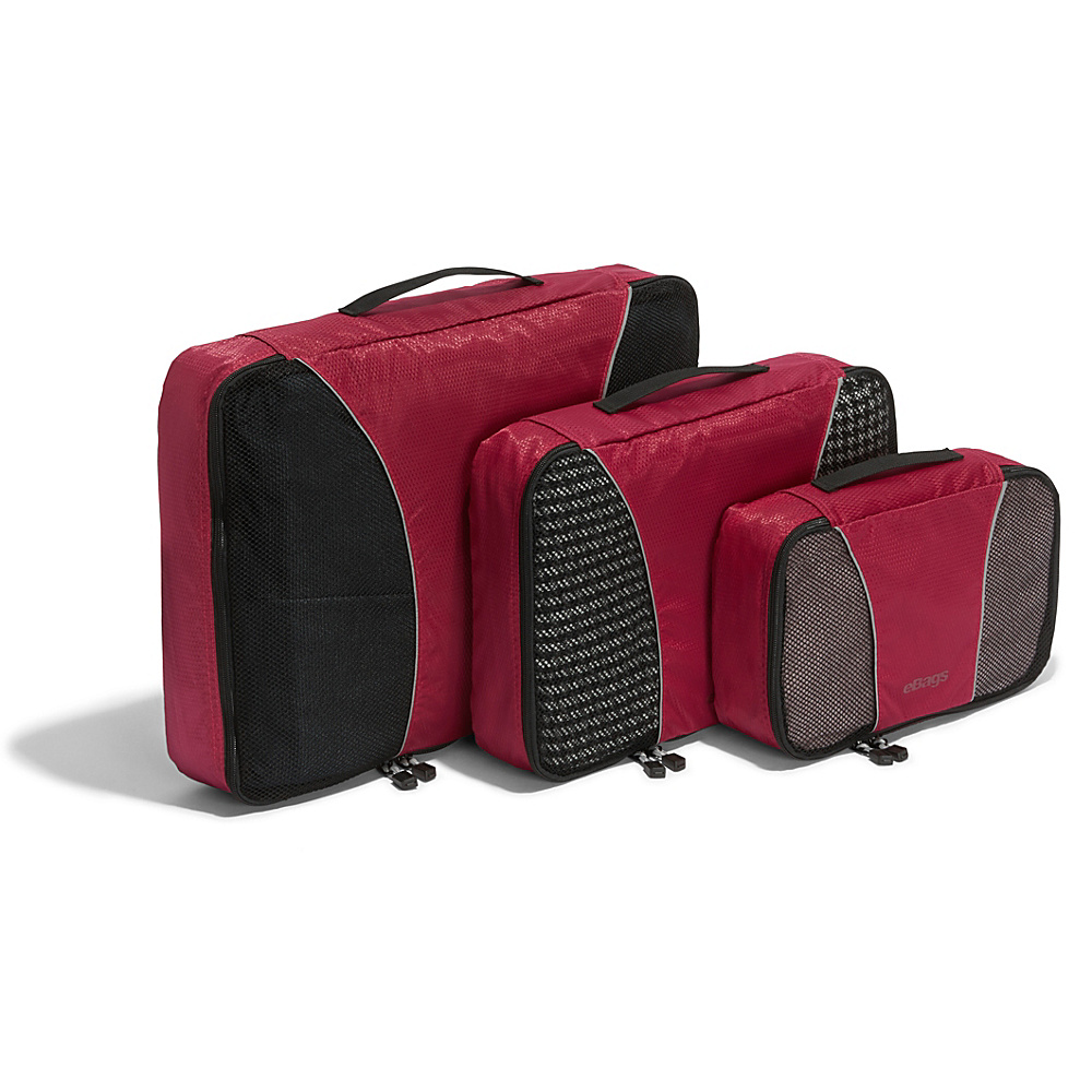 eBags Packing Cubes - 3pc Set - Raspberry - Travel Accessories, Travel Organizers
