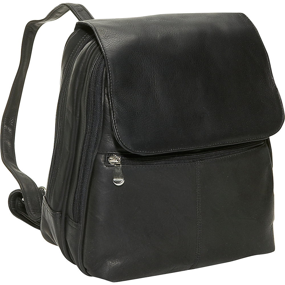 David King & Co. Women's Organizer Backpack Black - David King & Co. Leather Handbags