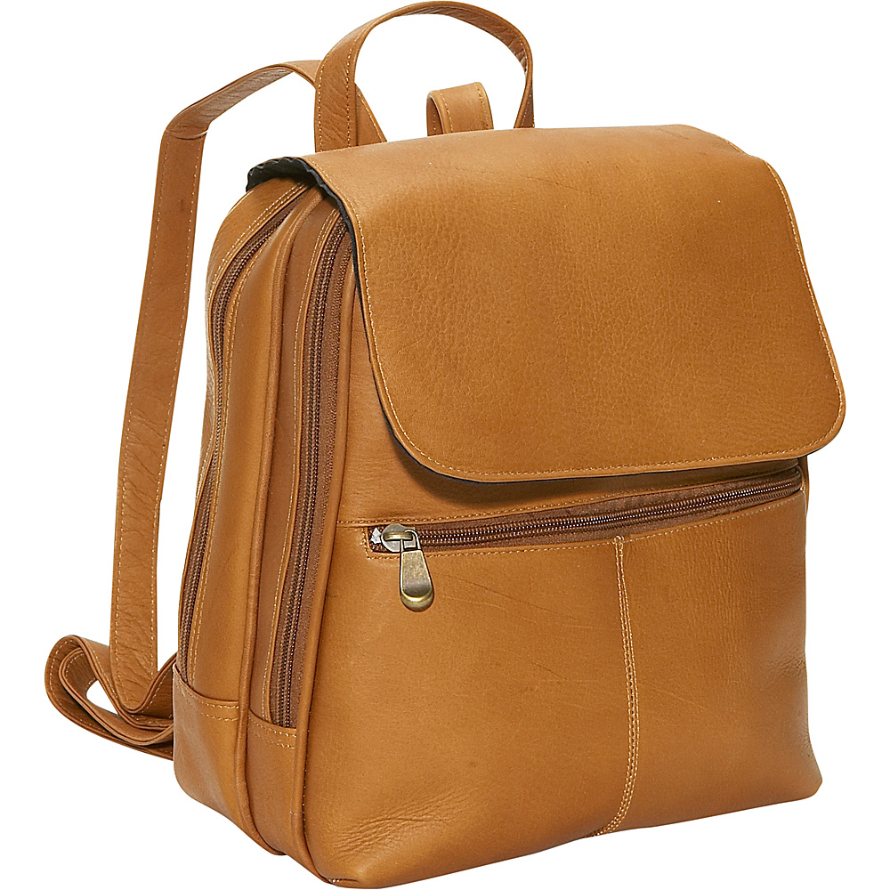 David King & Co. Women's Organizer Backpack Tan - David King & Co. Leather Handbags