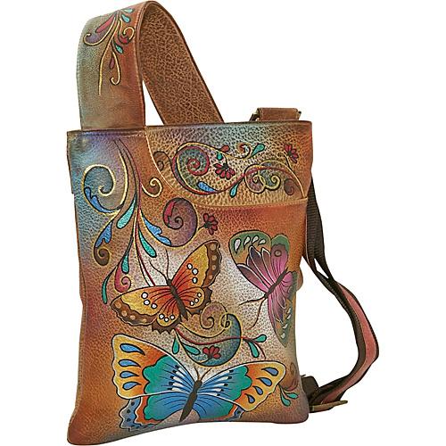 Anuschka Slim Cross Shoulder Bag- Henna Butterfly