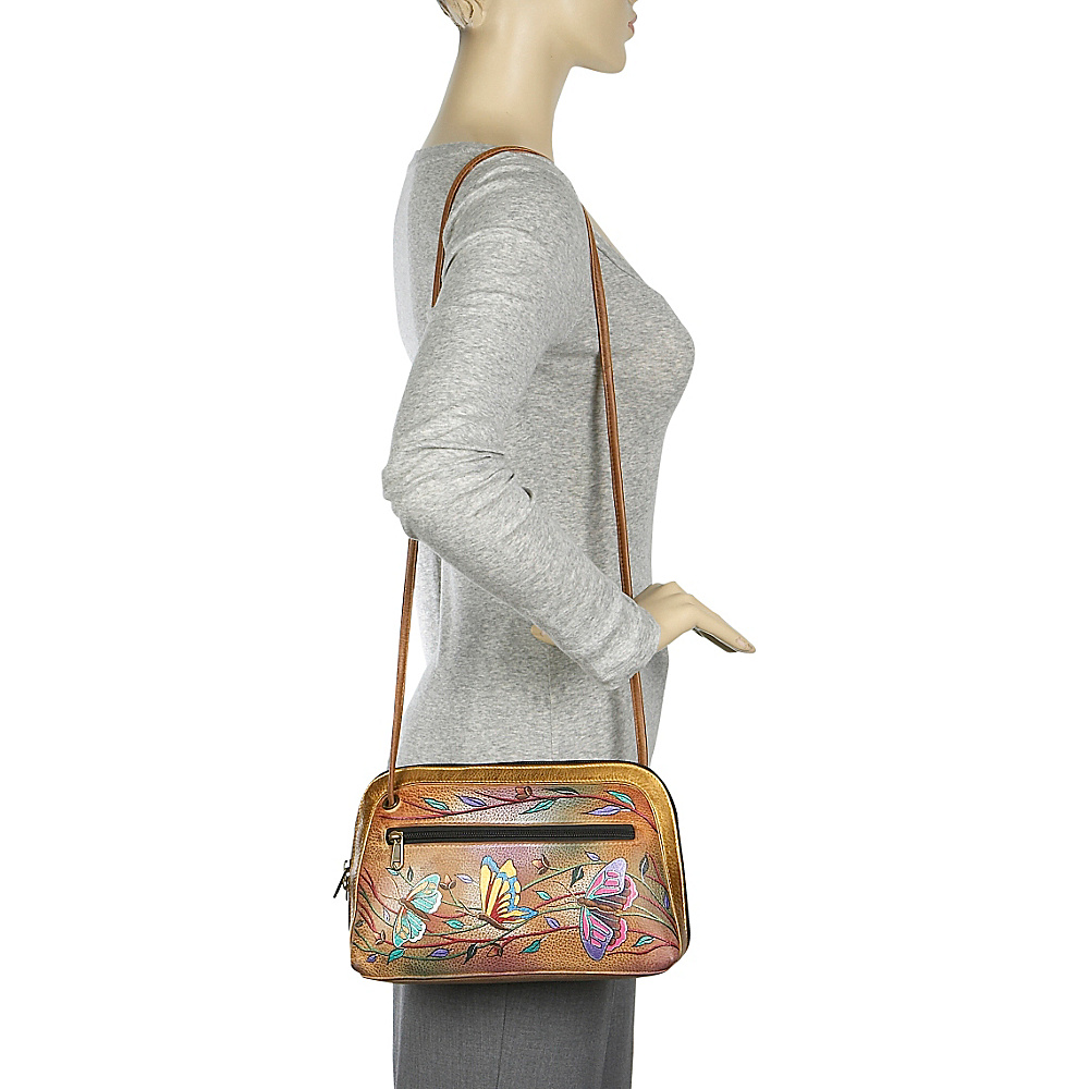 Anuschka Multi Compartment All-Round Zip - Angel Wings Peacock Lily - Anuschka Leather Handbags