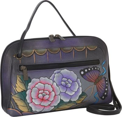 Anuschka Multi Compartment All-Round Zip - Angel Wings Antique Rose Pewter - Anuschka Leather Handbags