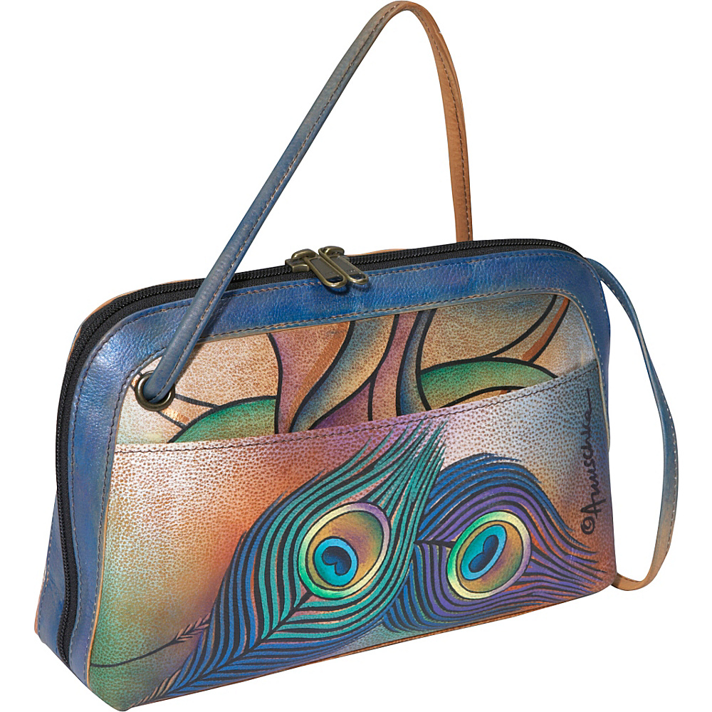 Anuschka Multi Compartment All Round Zip Angel Wings Peacock Lily Anuschka Leather Handbags