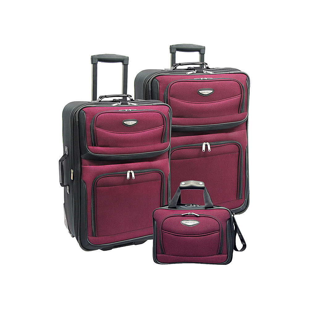 Travelers Choice Amsterdam 3-Piece Travel Collection Burgundy - Travelers Choice Luggage Sets - Luggage, Luggage Sets