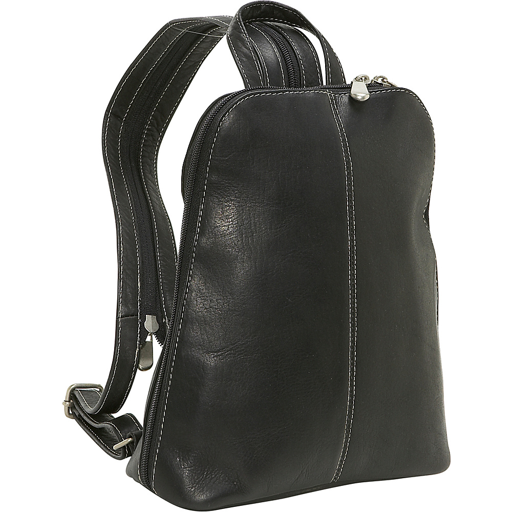 Le Donne Leather U-Zip Woman's Sling/Back Pack - Black
