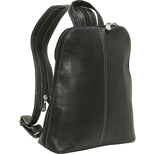 Le Donne Leather U-Zip Woman's Sling/Back Pack - Black
