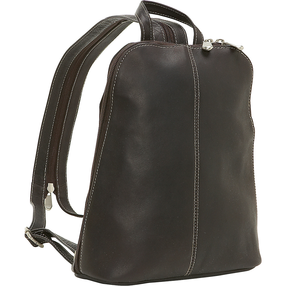 Le Donne Leather U-Zip Womans Sling/Back Pack - Caf - Handbags, Leather Handbags