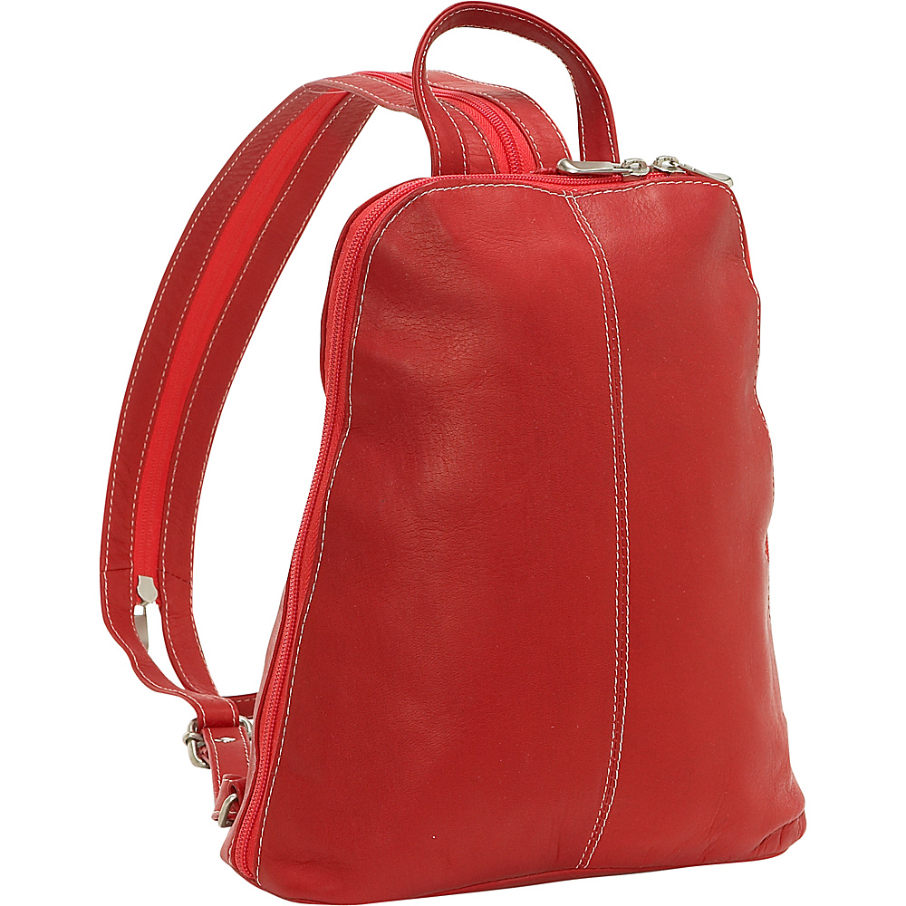 Le Donne Leather U-Zip Womans Sling/Back Pack - Red - Handbags, Leather Handbags