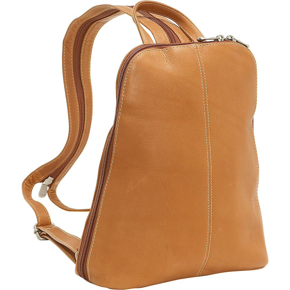 Le Donne Leather U-Zip Woman's Sling/Back Pack - Tan