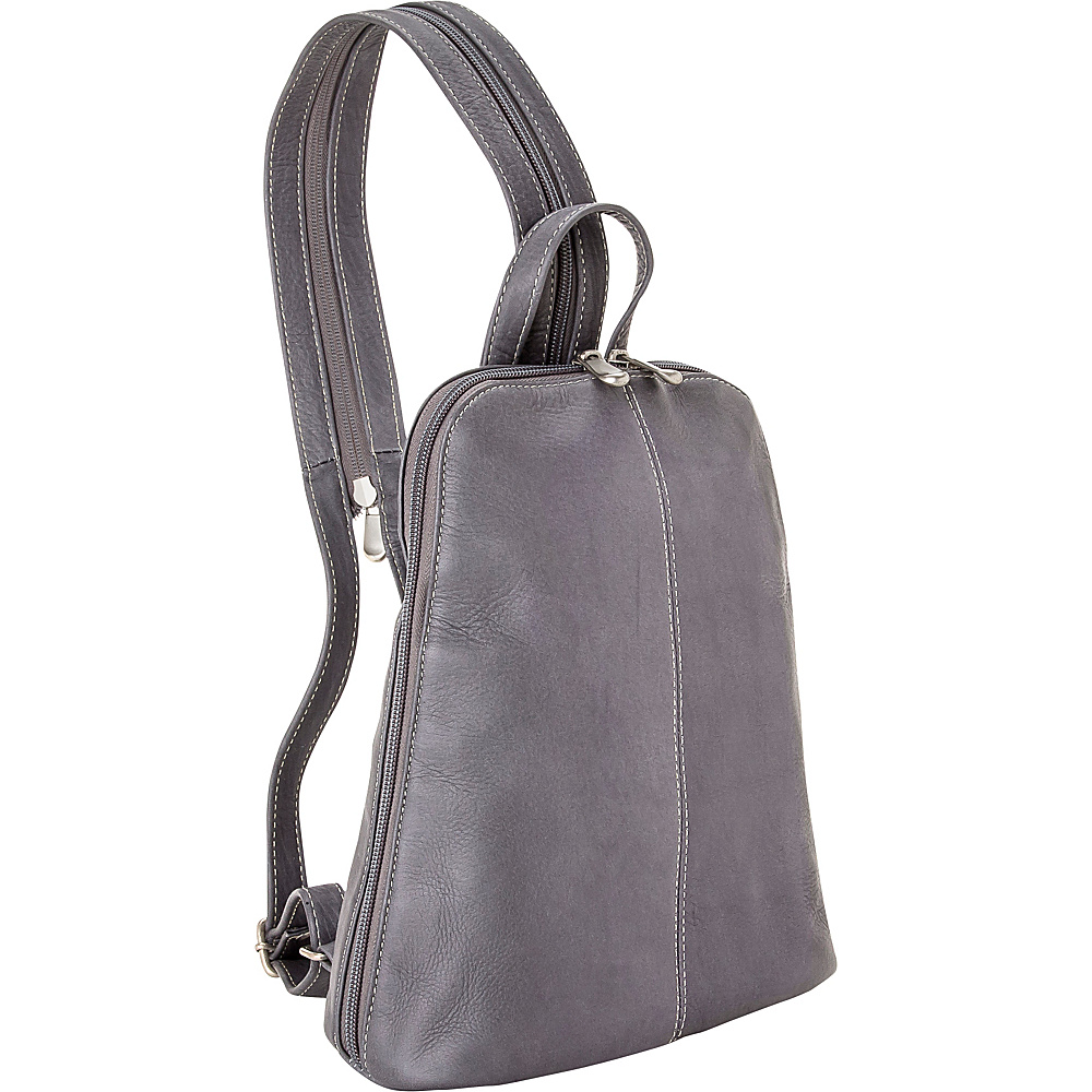 Le Donne Leather U-Zip Womens Sling/Back Pack Gray - Le Donne Leather Leather Handbags - Handbags, Leather Handbags
