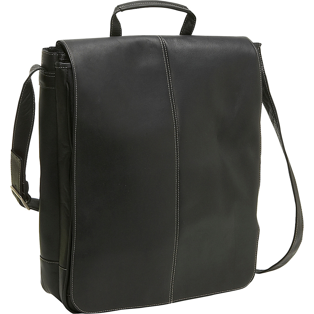 Le Donne Leather 17 Computer Messenger - Black - Work Bags & Briefcases, Messenger Bags