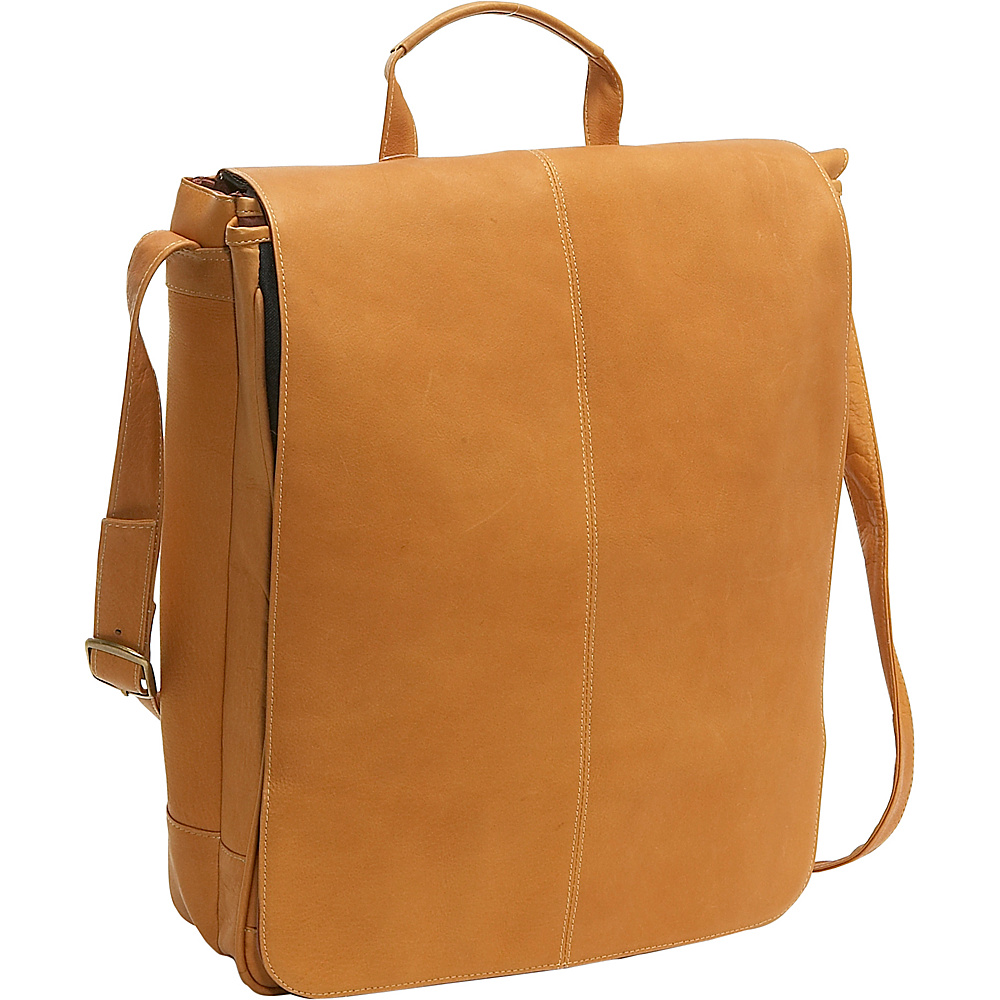 Le Donne Leather 17 Computer Messenger - Tan - Work Bags & Briefcases, Messenger Bags