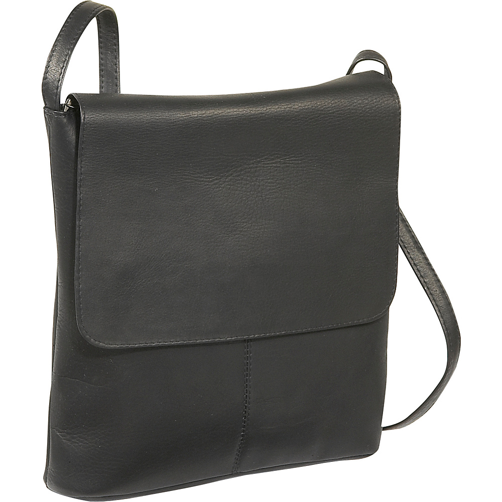 Le Donne Leather Simple Flap Over - Black - Handbags, Leather Handbags