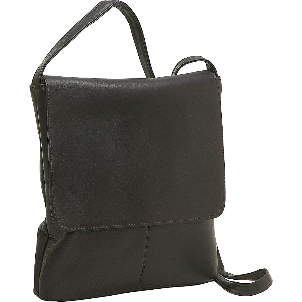 Le Donne Leather Simple Flap Over - Caf - Handbags, Leather Handbags