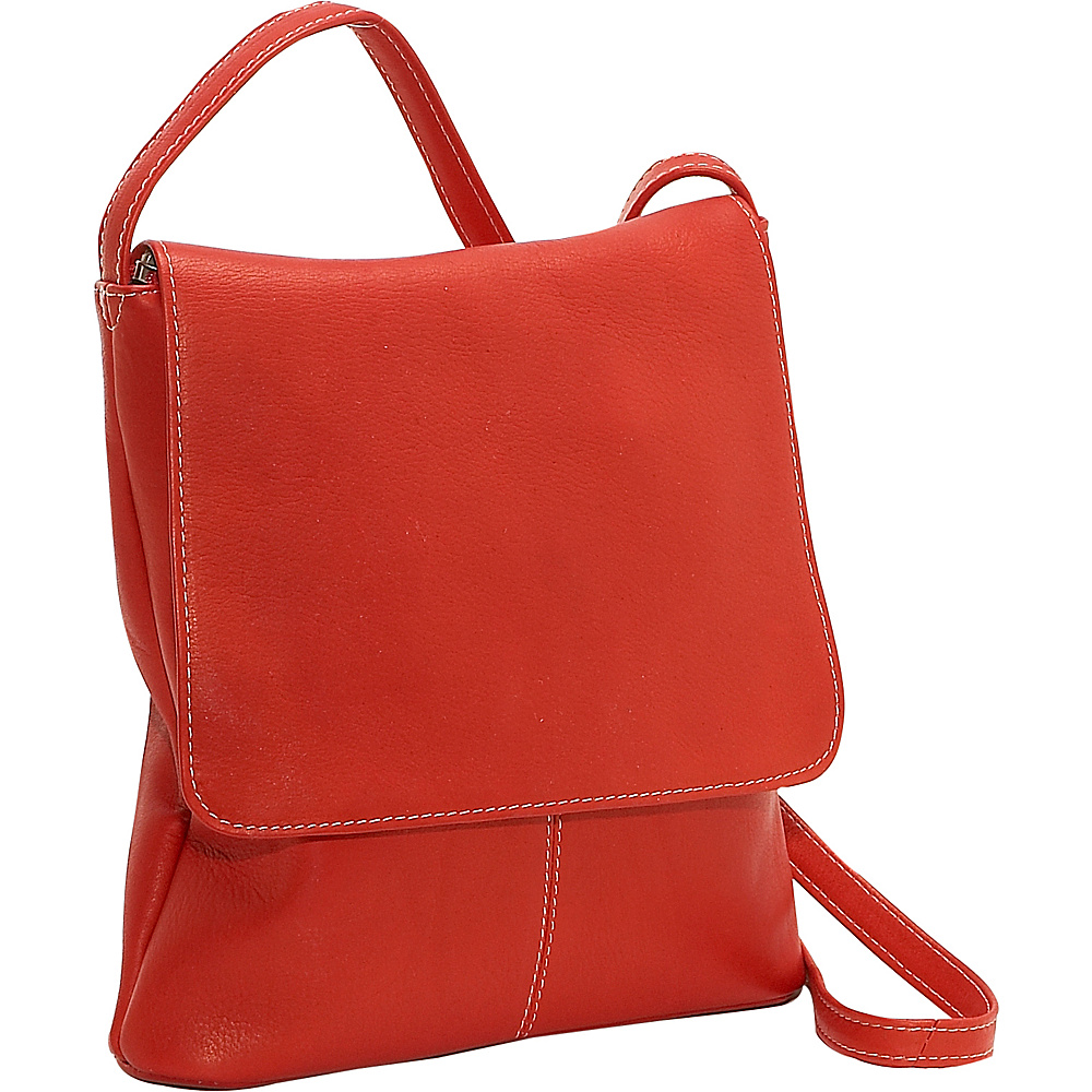 Le Donne Leather Simple Flap Over - Red - Handbags, Leather Handbags