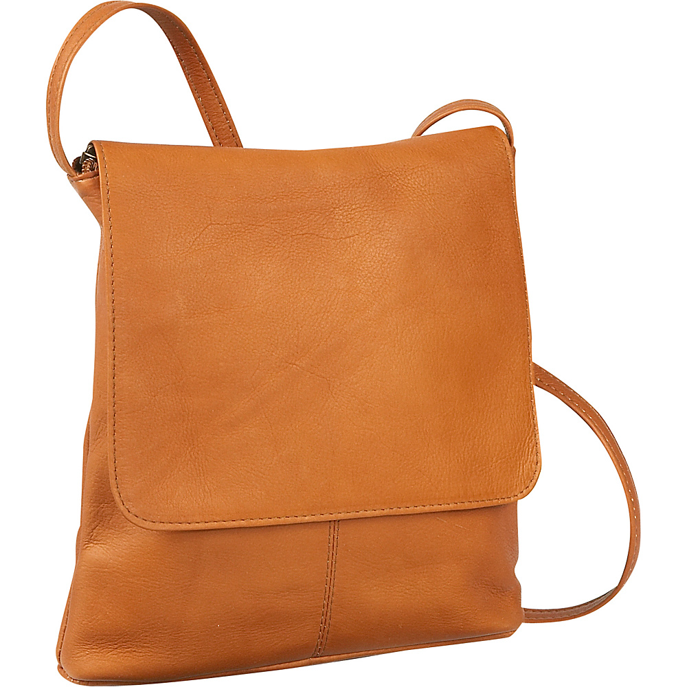 Le Donne Leather Simple Flap Over - Tan - Handbags, Leather Handbags