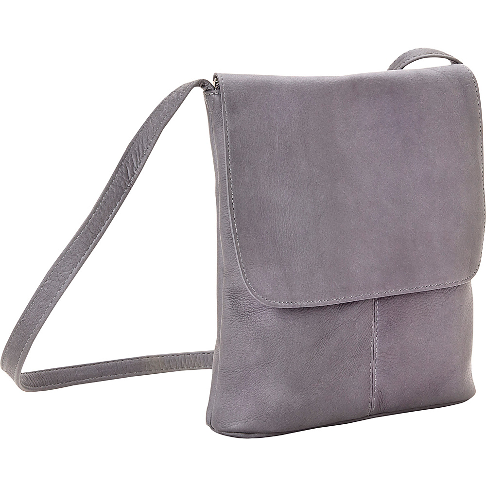 Le Donne Leather Simple Flap Over Gray - Le Donne Leather Leather Handbags - Handbags, Leather Handbags
