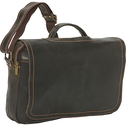 David King & Co. Distressed Leather Porthole Briefcase Chocolate - David King & Co. Non-Wheeled Business Cases