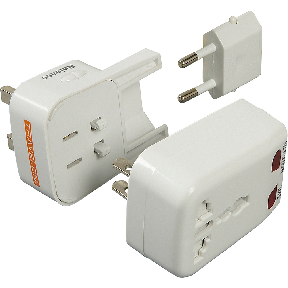 Travelon Worldwide Adapter & USB Charger - White - Technology, Electronic Accessories