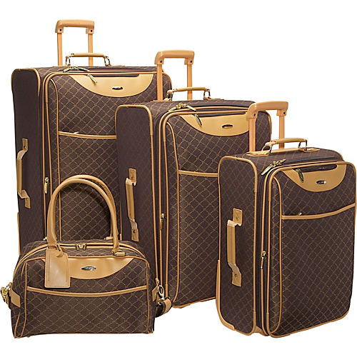 Pierre Cardin Signature 4-piece Exp. Luggage set Brown - Pierre Cardin Luggage Sets