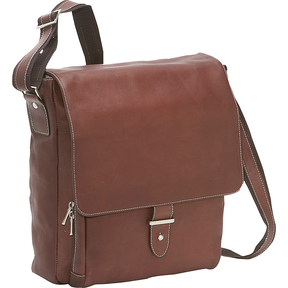 Bellino Columbia Vertical Laptop Messenger Brown