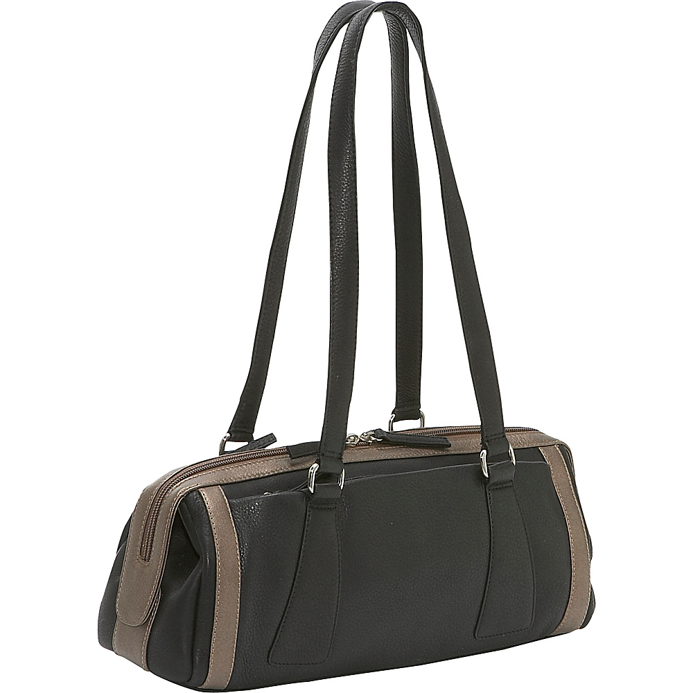 Derek Alexander Medium Duffle Handbag - Black/Bronze - Handbags, Leather Handbags