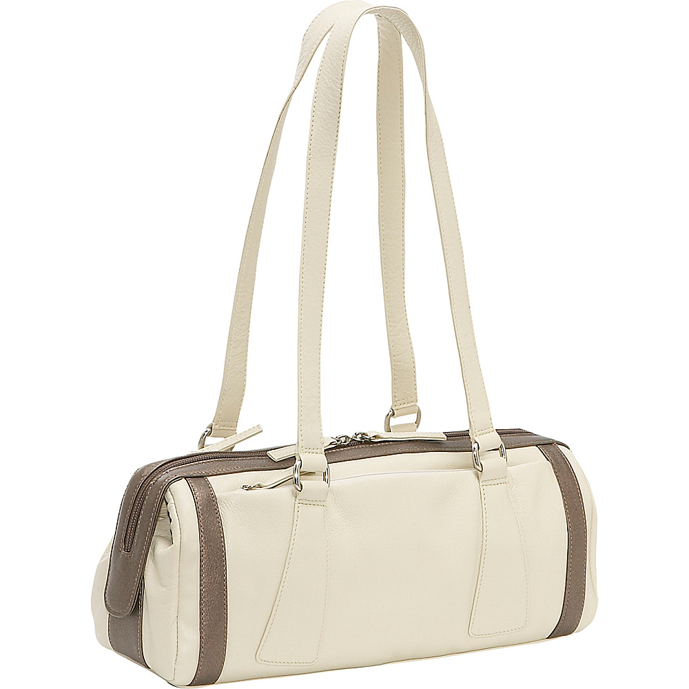 Derek Alexander Medium Duffle Handbag - Bone/Bronze - Handbags, Leather Handbags